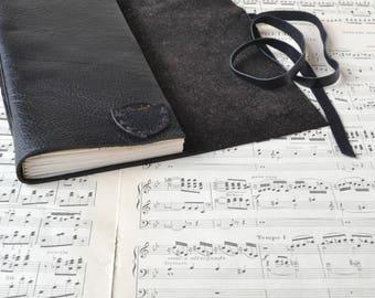 Black Leather Guitar Book - Leather Music Book with Tab Paper and Pick Pocket