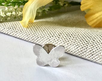 Silver Butterfly pin / tie tack / lapel pin / brooch