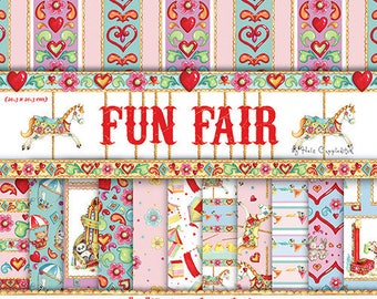 LOT 36 sheet paper flowers fair circus kids SCRAPBOOKING SCRAP card 20 X 20cm