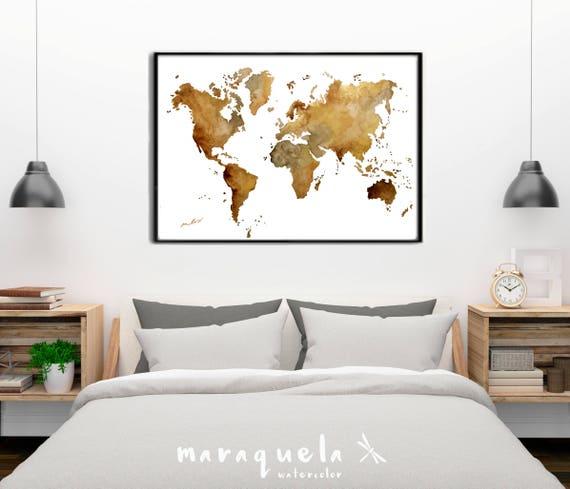 ORIGINAL World map, BROWN Hues original watercolor handmade.