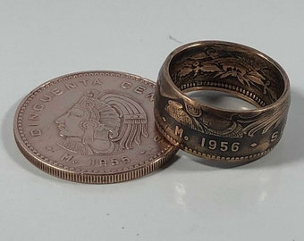 Sizes 9-14 Mexican 50 Centavos Coin Ring