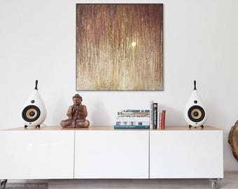 Gold and Champagne Color Textured Painting