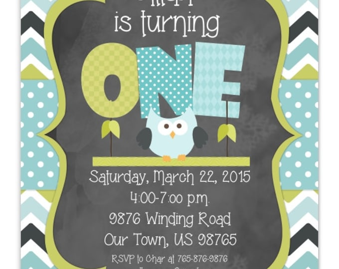 Owl First Birthday Invitation, 1st Birthday Invitation, Boy or Girl Owl Birthday Invite, Digital Design, CUSTOM for You, 4x6, 5x7, You Print