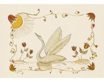 "Folk art frameable greeting card print, ""Swan"""