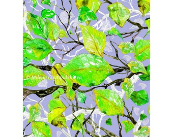 Art print by original watercolor illustration, high quality print, green leaves, white branches, yellow, gray, 30x40cm(app.11.8x15.8')