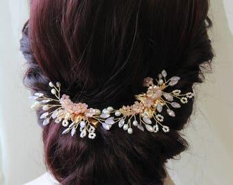 Blush Bridal hair flower, Wedding hair flower, Bridal hair clip, Wedding accessories, Bridal  headpiece, UK