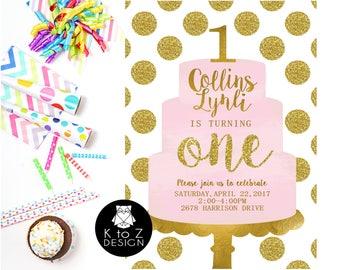 First Birthday Party /First Birthday Girl Invitation /Pink & Gold Birthday Invitation/ Printable Invitation / Printed Invitations
