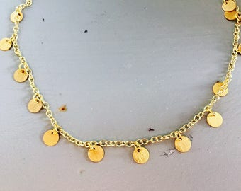 Simple Gold Dangle Choker