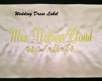 Personalized Wedding Dress Label