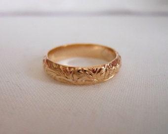 4mm Pattern Band Ring 14k Gold Filled