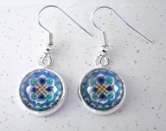 SPANISH FLOWERS Silver Dangle Earrings -- Detail from a Spanish tile in glorious shades of turquoise