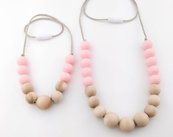 Mommy and Me Silicone Beads Necklace Set | Silicone Toddler Necklace | Silicone Silicone Teething Necklace | Mommy and Me Necklace