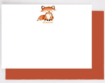 Woodland animal notecards,personalized stationary for kids,personalized stationery, childrens thank you cards, fox note cards,  FA110