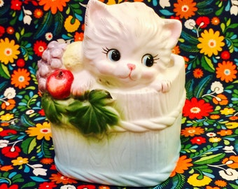 Napco Anthropomorphic White Kitten in a Basket with Fruit Planter made in Japan circa 1950s