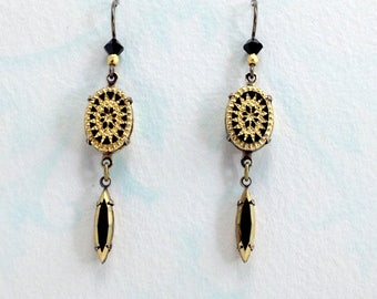 Ornate Jet Black and Gold Cabochon Earrings with Vintage Swarovski Rhinestones & Niobium Earwires