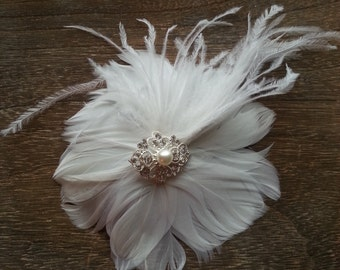 Bridal Clip - Feather Flower with Pearl Hairpiece