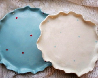 Gift, Holiday Ruffled Plates (4), Dot Polka Dot Dinner Plate Wedding Gift, Dishe Polka Dot Dishes, Personalized, pottery