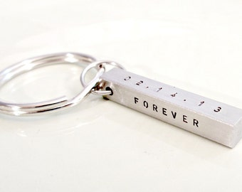 Personalized Key Chain - Hand Stamped Stainless Steel 4-Sided Bar - Men's Gift Idea - Custom Gift for Him - Daddy Husband Grandpa - Silver