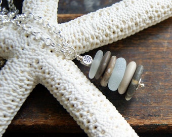 Beach Stone and Sea Glass Cairn Necklace - natural jewelry