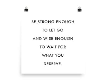 Be Strong Enough Poster Motivational Quote Print Inspirational Saying Typographic Minimalist Print Black & White Design Text Word Art