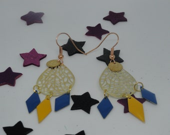 dream catcher effect earrings, drops and sequins diamonds