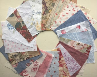 Cotton Vintage Sheet Fabric Charm Pack / Floral Rose Plaid Chambray / Pink Red Yellow Blue White / Cottage Farmhouse Shabby Chic / Quilting