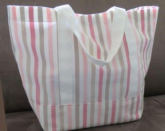 FREE SHIPPING ALWAYS - Pink vertical stripes tote bag, cotton bag, reusable grocery bag, knitting project bag, beach bag, Green Market bag