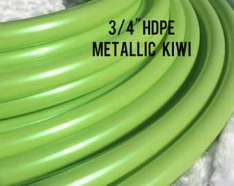 "Metallic Kiwi 3/4"" HDPE Dance & Exercise Hula Hoop COLLAPSIBLE push button or minis - lime iridescent green"