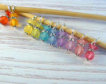 Frosted Bead Perfume/ Potion Bottle Markers, Fairy Bottle, Stitch Markers, Rainbow Markers, Crochet Markers, Knitting Accessories