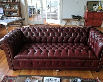 Not available-SOLD-Leather Chesterfield Sofa