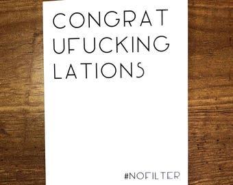 Congratulations Cards, Graduation Card, Funny Graduation Card, New Job Card, Funny Engagement Card, Engagement Card, Promotion Card