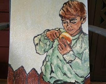 Original painting, boy eating orange