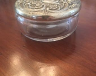 Silver plated and glass trinket jar