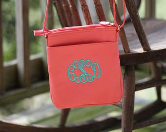 Monogram Crossbody Purse - Personalized Crossbody Purse - Crossbody Tote Bag - Coral and Mint Crossbody