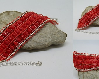 Red and silver woven bracelet