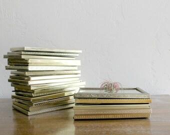 5 Vintage Gold Frames, Set of 5x7 Frames, Wedding Table Decor, Picture Frame Set, Table Number Frame, Gold Frame Collection, Group of Frames