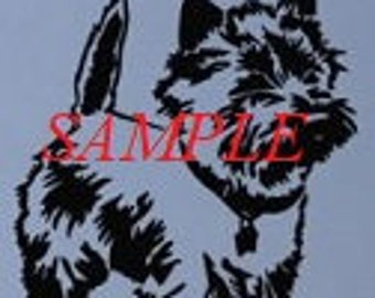 Cairn Terrier Dog Stood PDF Cross Stitch Chart//Instant Download/Single Colour