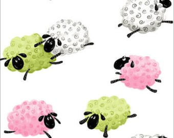 """Susybee  Lewe, the ewe Sheep - Jumping Hopping Leaping sheep on White - Sweet Dream Counting 100% cotton fabric by the yard 36""""x42"""" (SB66)"""