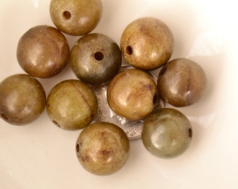 Vintage 12mm Brown Jade Natural Nephrite Round Beads - Ten 10 Piece 12mm Bead Set