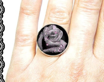 Adjustable ring, 18 mm glass cabochon, pink (130218)