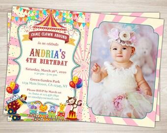 Girl Carnival 1st Birthday Invitation Carnival Photo Invitation Pink Circus First Birthday Invitation, Circus Invitation, Carnival Invite