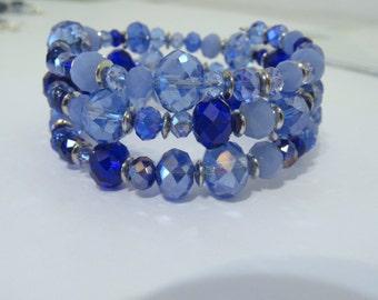 Beaded memory wire bracelet, blue crystal bracelet