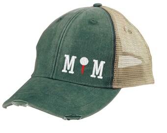 Golf Mom Distressed Snapback Trucker Hat - off-center