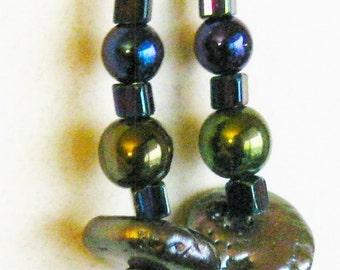 Beaded Earrings Fresh Water Pearls Trending Gift Beach Resort Boho Beaded Earrings Handmade Jewelry Blue Purple J 111128