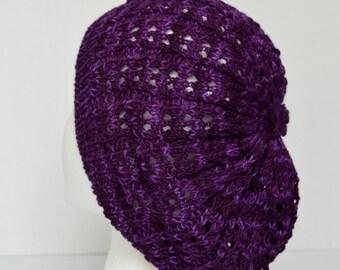 Slouchy Tam, Slouchy Beanie, Slouchy Beret, Purple Lacy Hat, Open Knit Hat, Purple Summer Slouch Hat, Women's Fashion Hat, Chemo Cap