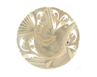 Carved Mother of Pearl Bird Pin