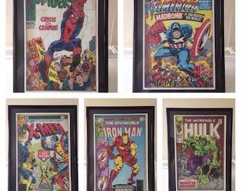 Vintage superhero comic book cover art, framed
