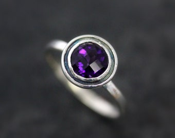 Sterling Silver Ring, Amethyst Solitaire, Purple Gemstone Ring, Halo Ring, February Birthstone Ring, Eco Friendly, Recycled Silver