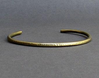 Men's Thin Hammered Bronze Cuff Bracelet Unisex Bracelet  Boyfriend Gift Width 3mm Gift For Him  Customized On Your Wrist