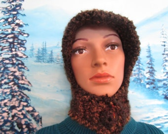 Unique,  warm crochet ladies bonnet style hat made of homespun and wool blend acrylic  yarn, with covered button.
